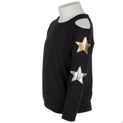 Cold Shoulder Sweatshirt with Gold and Silver Stars On Arms