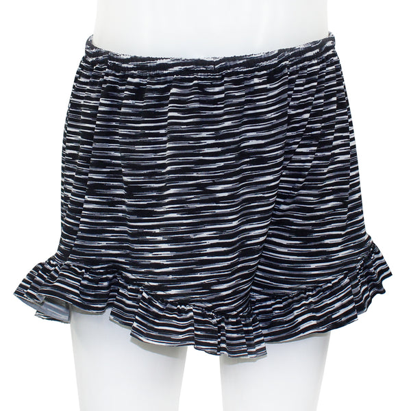 Ruffle Short Black White Stripe Print