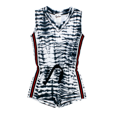 Tie Dye Romper with Red and Black Sport Stripe