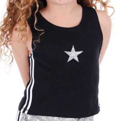 Tank with Sport Stripe Side and Silver Star Crop