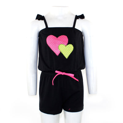 Black Mesh Romper with Pink & Yellow Hearts