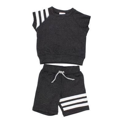 Two Piece Short Set Grey with Stripes