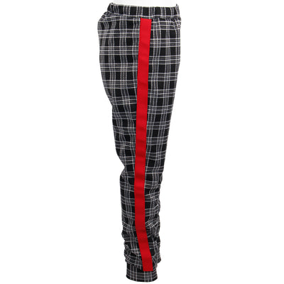 Plaid Jogger with Red Stripe