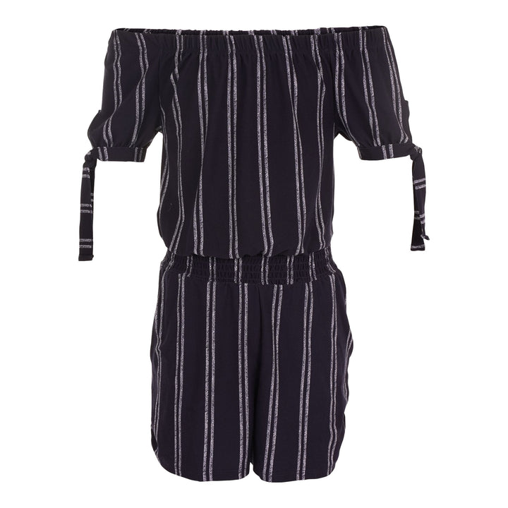 Stripe Off Shoulder Romper