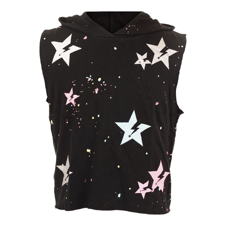 Sleeveless Hoody with Allover Stars