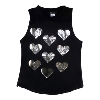 Mock Neck Tank with Hearts Foil