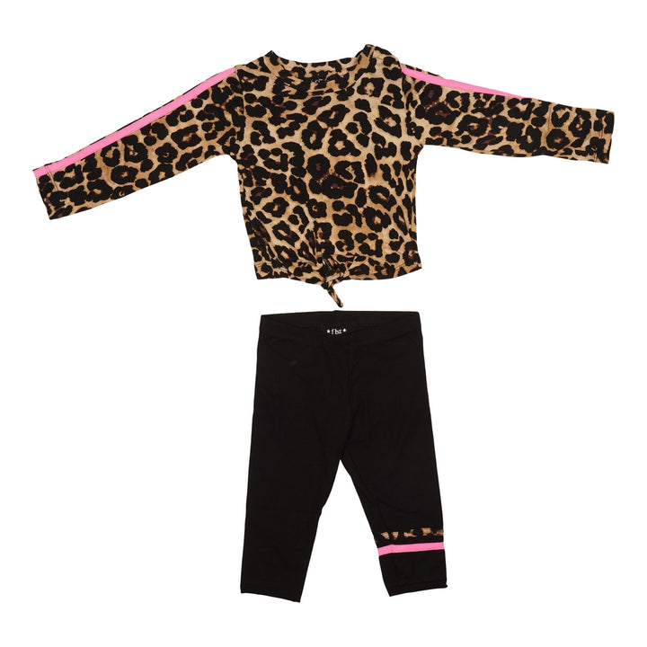 Leopard & Stripe Top and 2 Piece Legging Set