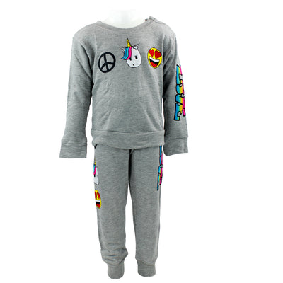 2pc Sweatshirt n Pant Set w Peace Unicorn Smiley n Love Patches