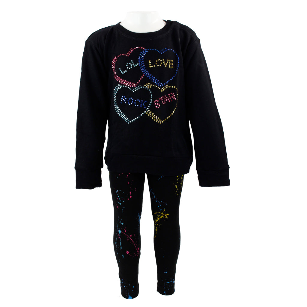 Two Piece Long Sleeve Top and Legging Set with Love Rock Star Splatter