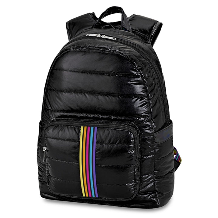 Black Puffer with Primary Stripes backpack