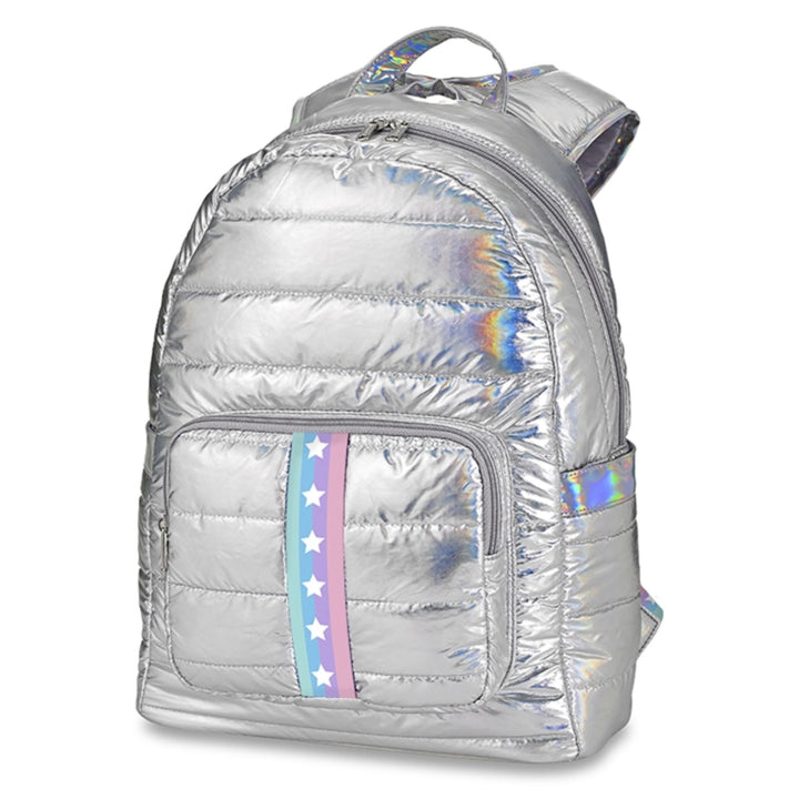 Silver Puffer with Pastel Star Taping Backpack