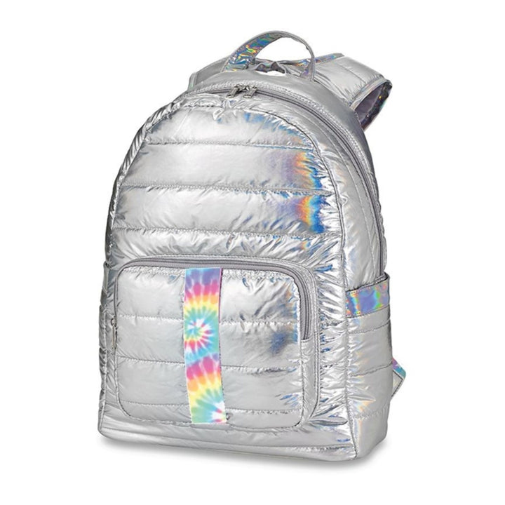 Silver Puffer with Tie Dye Taping Backpack