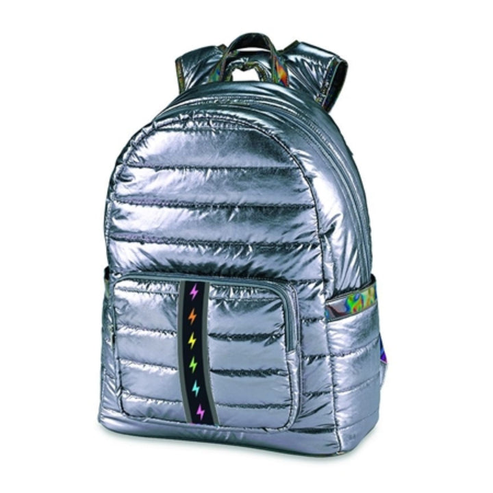 Pewter Puffer with Rainbow Bolt Stripe Backpack