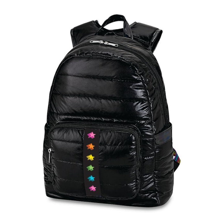 Black Puffer with Shadow Stars Backpack