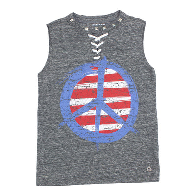 Tank lace Up With Americana Peace
