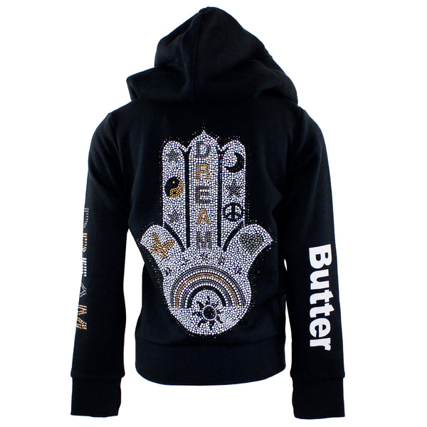 Solid Zip Hoody with Gold/Silver Hamsa