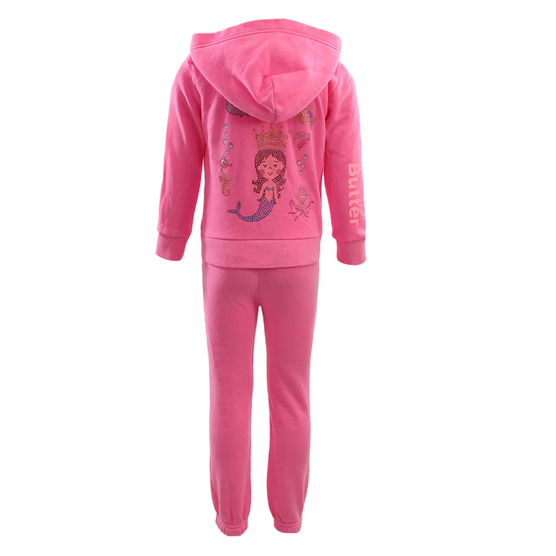 Two Piece Burn Out Zip Hoody and Pant Set with Mermaid Applique