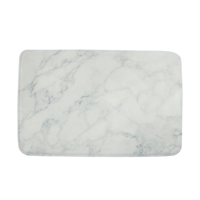 Black and White Marble Plush Mat