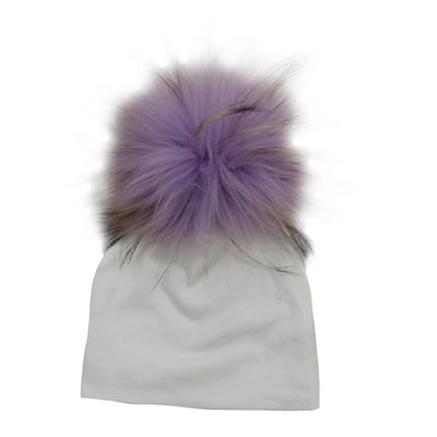 Lavender Top Fur On Ivory Hat