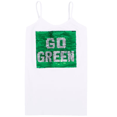 Tank with Reversible Sequin Go Green