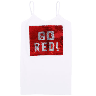 Tank with Reversible Sequins Go Red