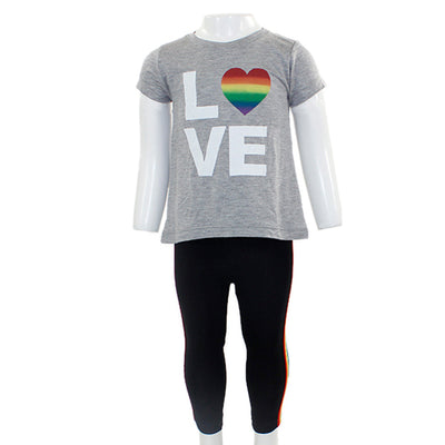 Grey Top with Love and Black Legging Short Sleeve Two Piece Set