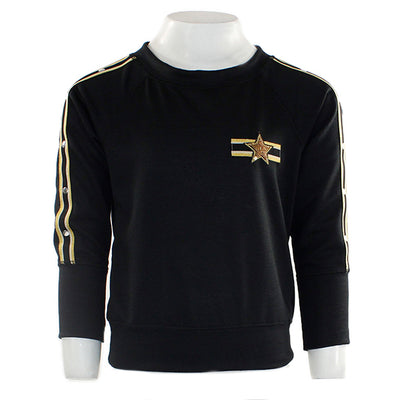 Long Sleeve Sweatshirt with Gold Stripe
