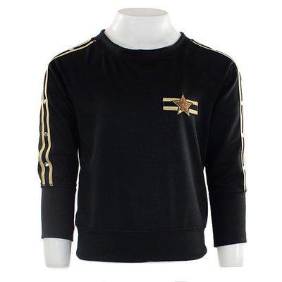 Long Sleeve Sweatshirt with Gold Stripe Down Sleeves n Gold Star