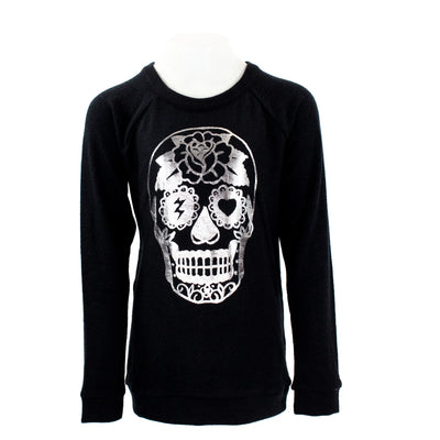 Long Sleeve Hacci Top Skull