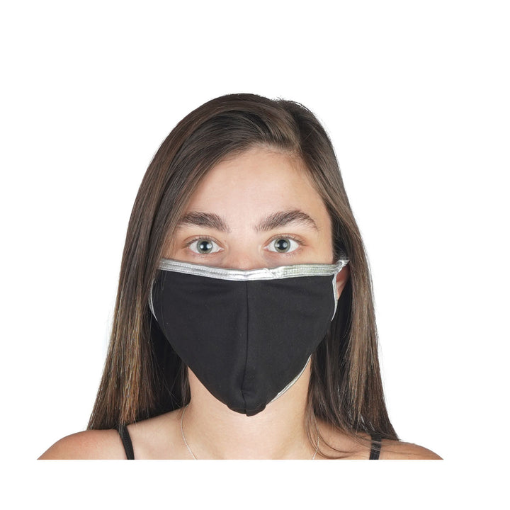 Black Mask with Silver Contrast Adult 96% Poly 4% Spandex