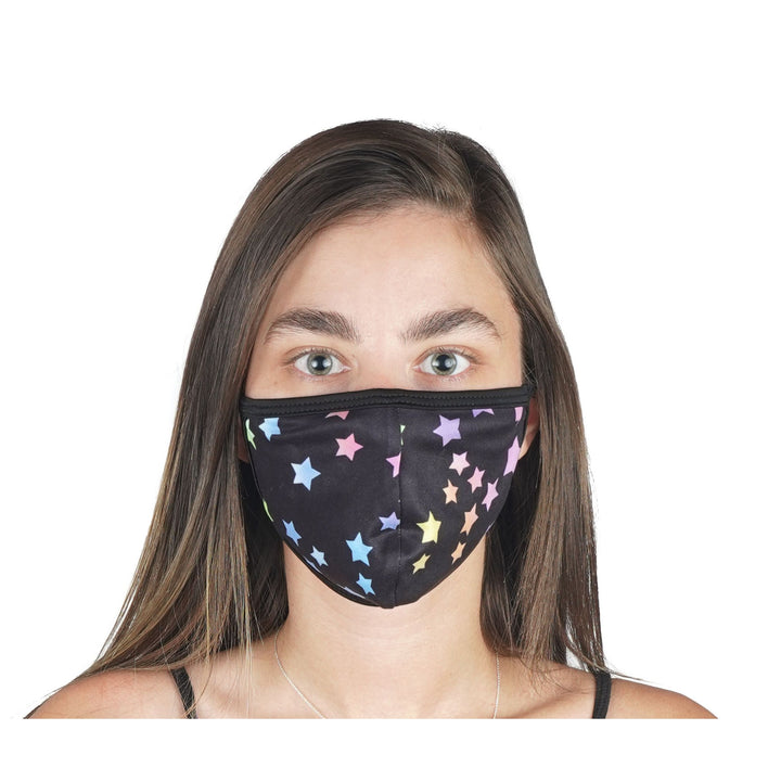 Black Stars Mask 96% Poly 4% Spandex