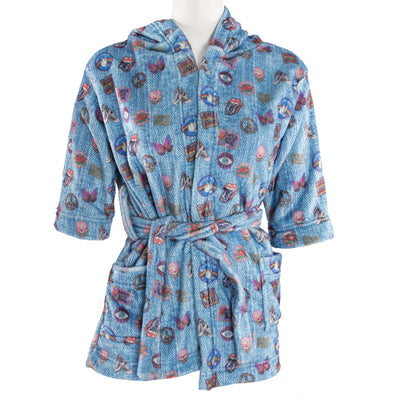 Denim Patch Plush Robe