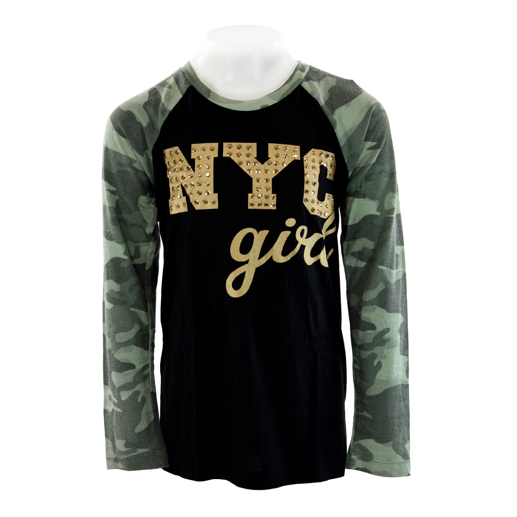 Black Raglan with NYC Girl in Gold