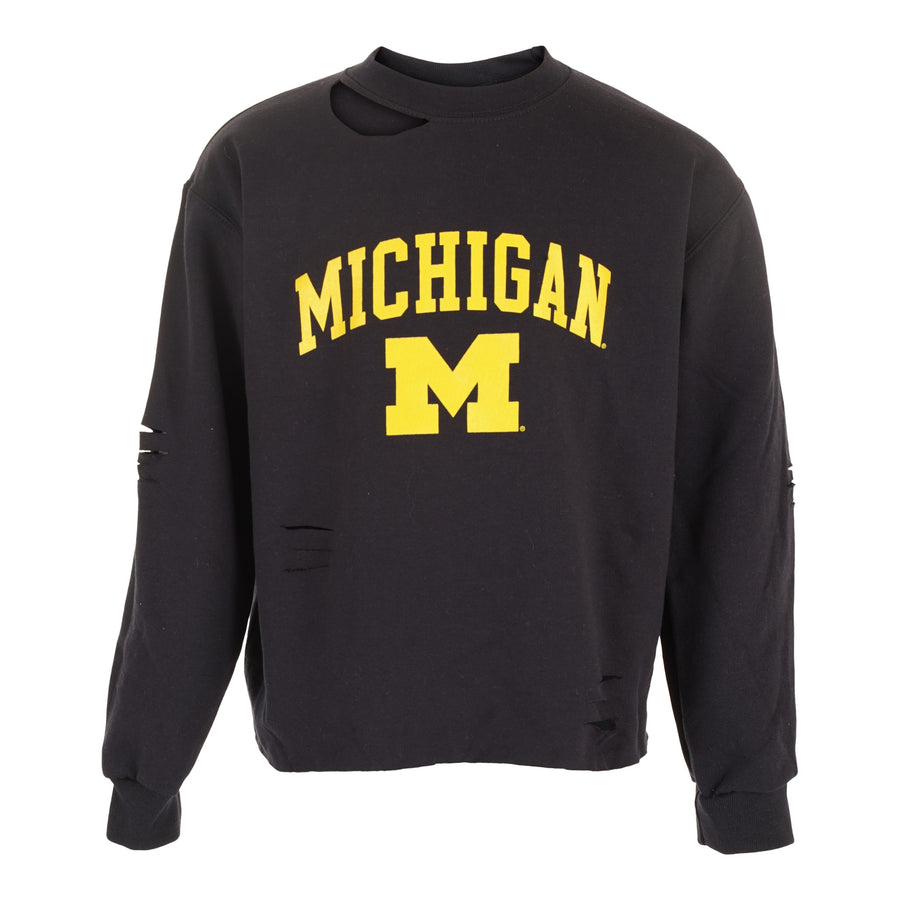 Cropped Michigan Crew Sweatshirt with Cuts