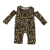Long Sleeve Cold Shoulder Leopard Coverall