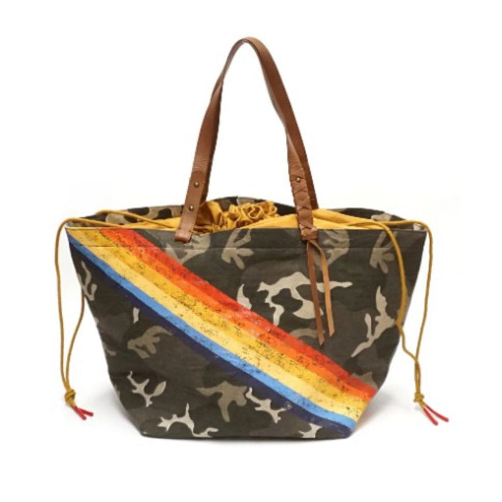Large Camo Tote Bag with Rainbow Stripes