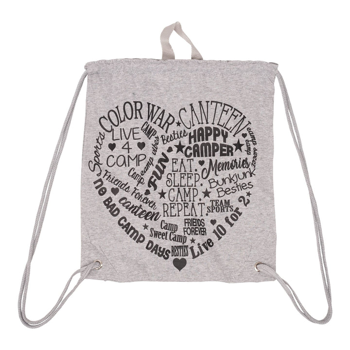 Camp Heart Graphitti Drawstring Bag