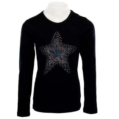 Long Sleeve Ribbed Shirt with Burst Star