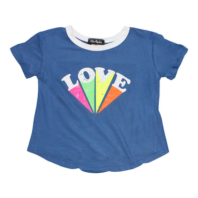Short Sleeve Tie Front Ringer with Love