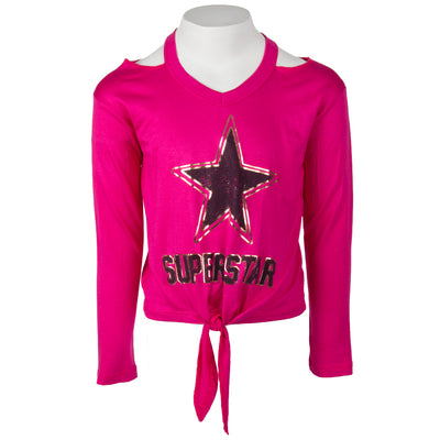 Long Sleeve Tie Front with Superstar
