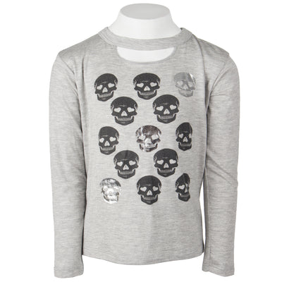 Long Sleeve Cut Out Neck with Skulls