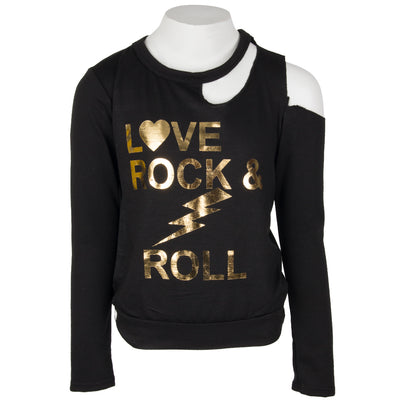 French Terry Long Sleeve Cut Out with Love Rock n Roll