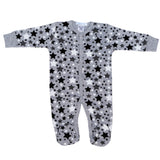 Grey Footie with Black White and Grey Stars