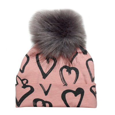 Hat Blush with Hearts and Grey Pom Pom