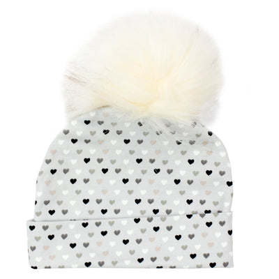 Hat Multi Hearts with Creme Pom Pom