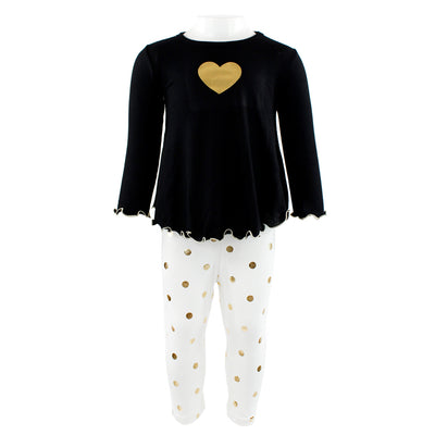Two Piece Set Swing Top with Heart and Gold Dot Legging