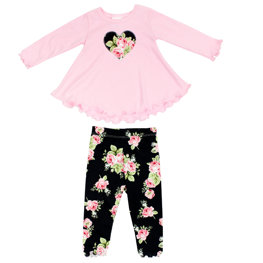 Two Piece Set Thermal with Charcoal Floral Legging