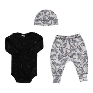 Three Piece Take Home Set with Splatter Tee & Sneaker Pant & Hat