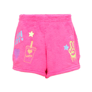 Neon BFF Sticker Fuzzy Shorts 7/14