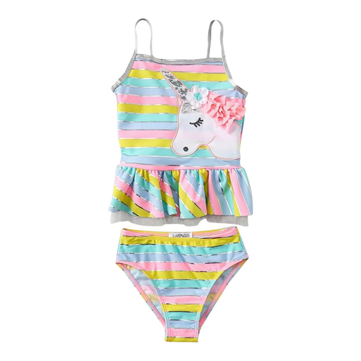 2pc Striped Ruffle Btm Tankini w Unicorn